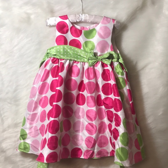 Rare Editions Other - Toddler Pink & Green Polka Dot Dress